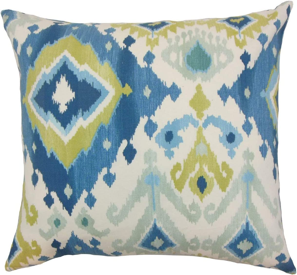 The Pillow Collection Gannet Ikat Aegean Down Filled Throw Pillow Home Kitchen