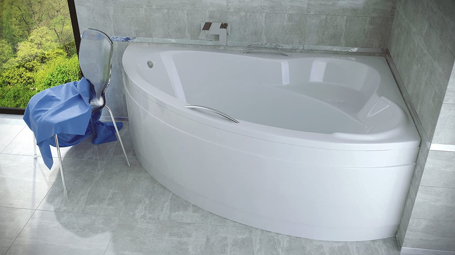 ADA Offset Corner Bath SPACE SAVER 1400 x 900mm (INCL PANEL + STAND ...