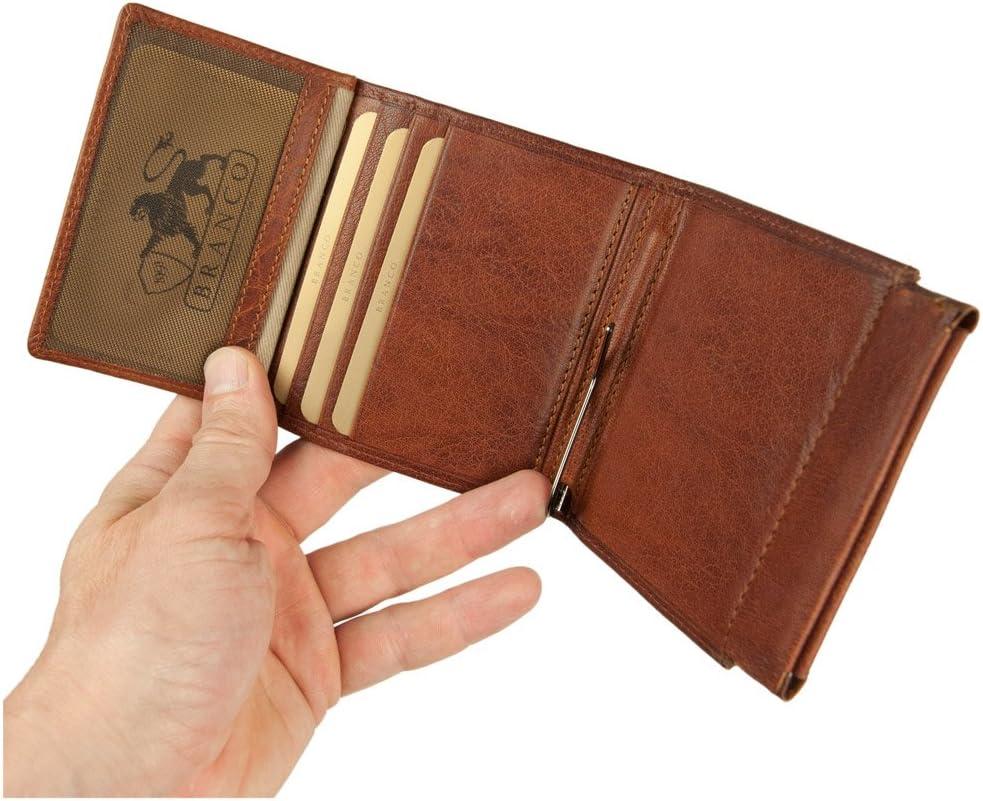 AMARI Herrenbörse mit Geldklammer Dollarclip Geldscheinklammer feines Nappaleder
