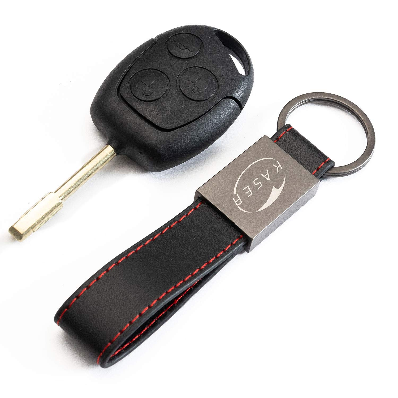 Coque Clé Télécommande Plip 3 Boutons pour Ford Focus Mondeo Fusion Fiesta Ka Kuga S-Max C avec Porte-Clés en Cuir KASER