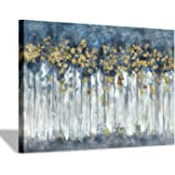 "Canvas Wall Art Abstract Painting: Rustic Hand Painted Textured Landscape Forest Trees Picture Artwork for Office Wall Decoration (36"" x24'' x 1 Panel)"