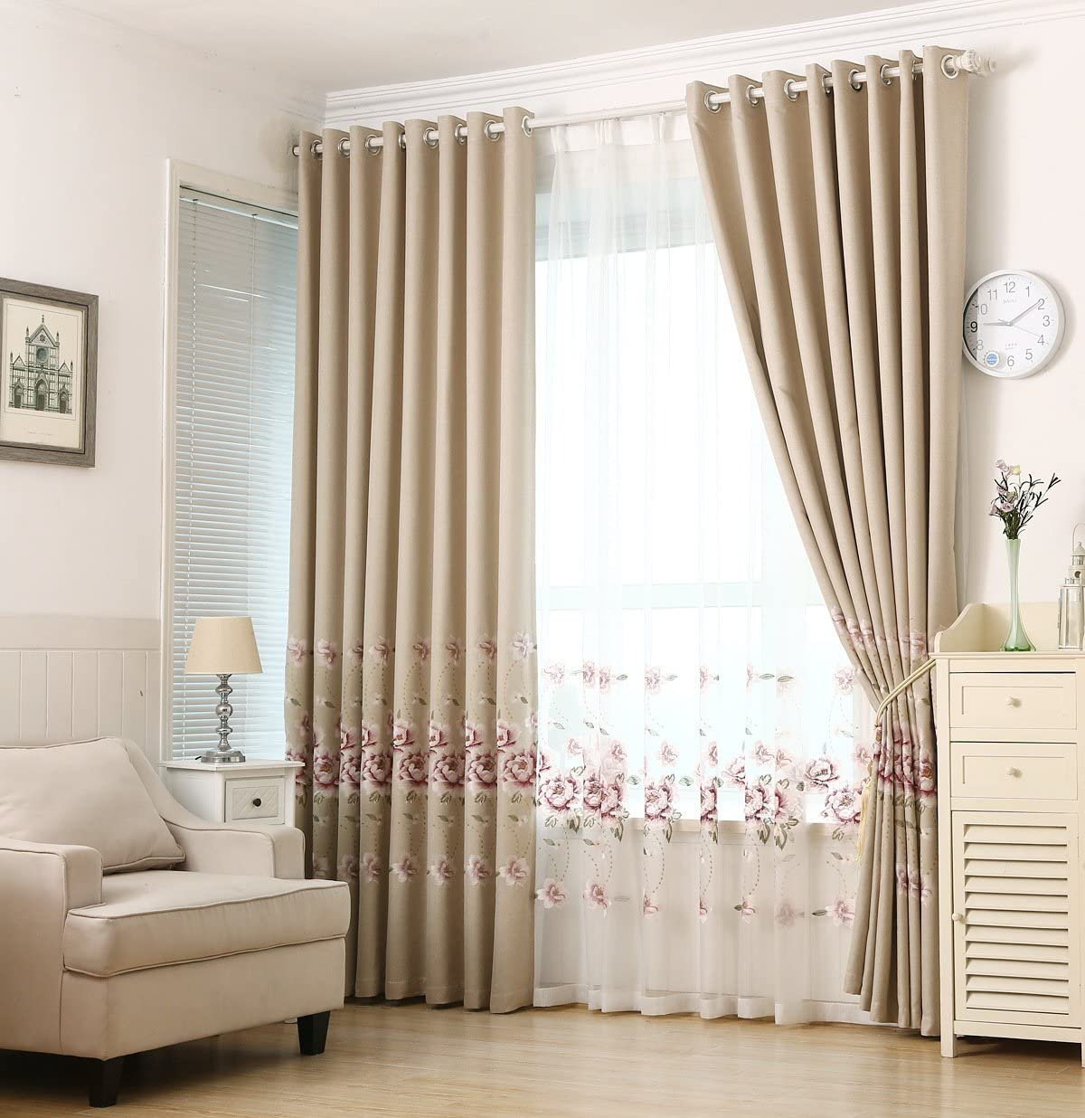 pureaqu Elegant Embroidered Floral Blackout Curtains Room Darkening Grommet Top Window Decoration Curtains for Living Room for Bedroom Beige 1 Panel W75 x H96 Inch