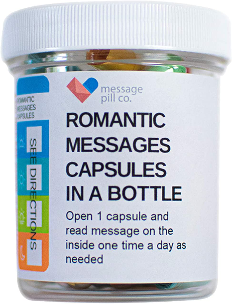 Message in a Bottle | Romantic for Boyfriend or Girlfriend (50PCS) | Pre-Written Love Capsules Letters in Plastic Jar | Perfect for Anniversary, Valentines, and Long Distance Relationships