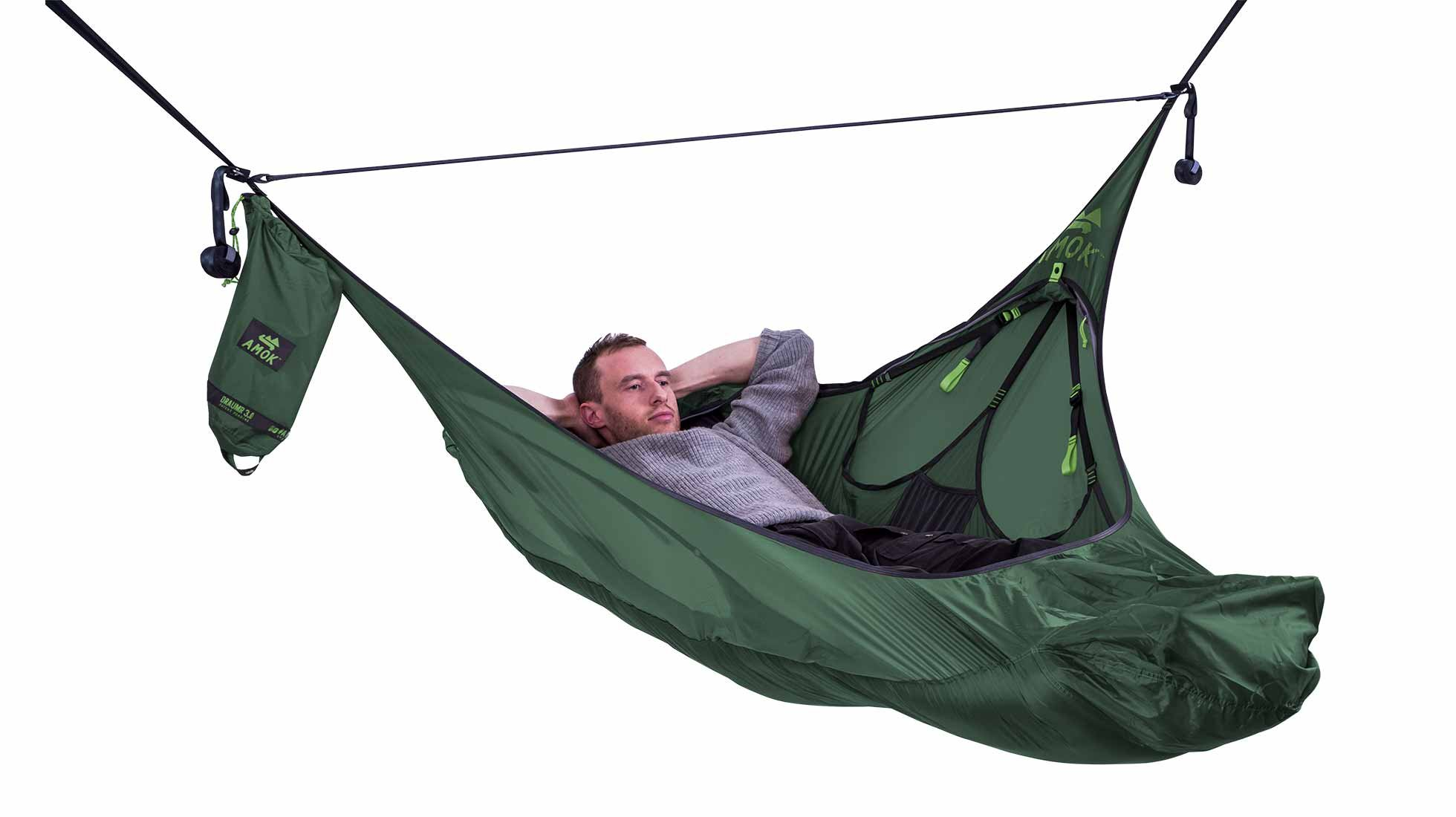 Amok Equipment Flat Lay Camping Hammock with Mosquito Net and Suspension Kit. Portable Hammock for One Person that can be turned into a Chair. (Woody Green)