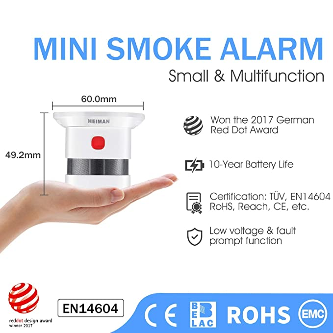 Mini Detector de Alarma de Humo HEIMAN, Batería de por Vida con batería de 10 años, Premio Reddot, Certificado CE, Detector de Incendios fotoeléctrico ...