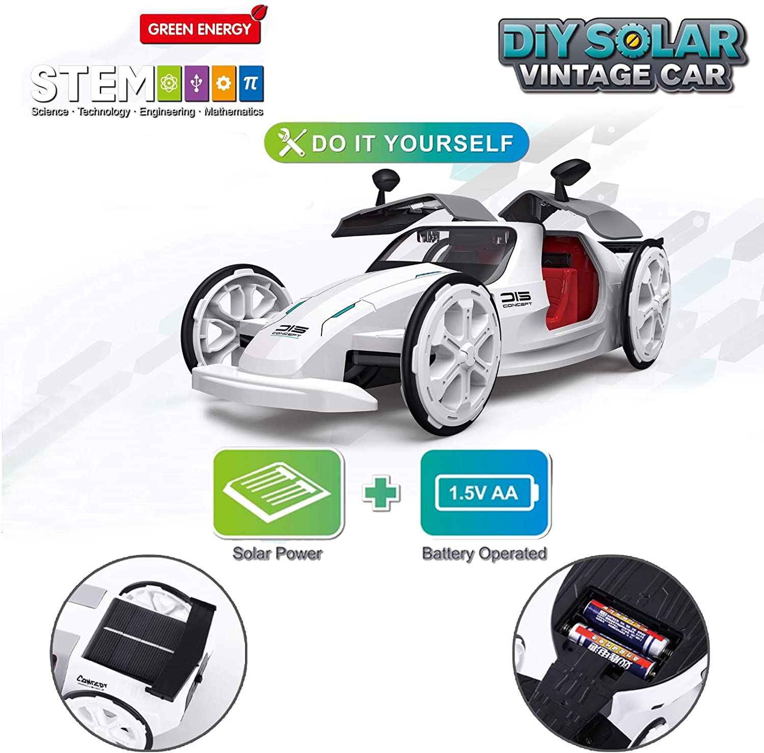 Years Old Kids STEM Eco-Engineering Science Assembly Vehicle with Openable Car Doors Masefu DIY Solar and Battery Powered Car Toy Power by Sun Educational Experiment Building Car Kit for Kids 6