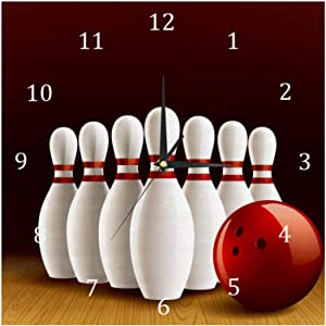 AISSO Wall Clocks Bowling Lane Realistic Battery Operated Number Clock for Bedroom Living Kitchen Office Home Decor Silent & Non-Ticking