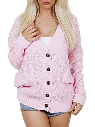 fdf3b0159524 Ladies Long Sleeve Button Up Chunky Cabel Knitted Grandad Cardigan (Small,  Baby Pink)