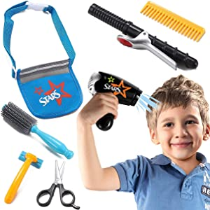 Liberty Imports Boys Star Stylist Barber Salon Role Play Set with Hairdryer, Curling Iron, Tool Belt and Styling Accessories