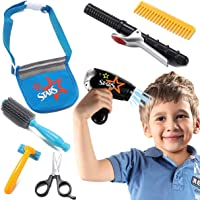 Liberty Imports Boys Star Stylist Barber Salon Role Play Set with Hairdryer, Curling Iron, Tool Belt and Styling…