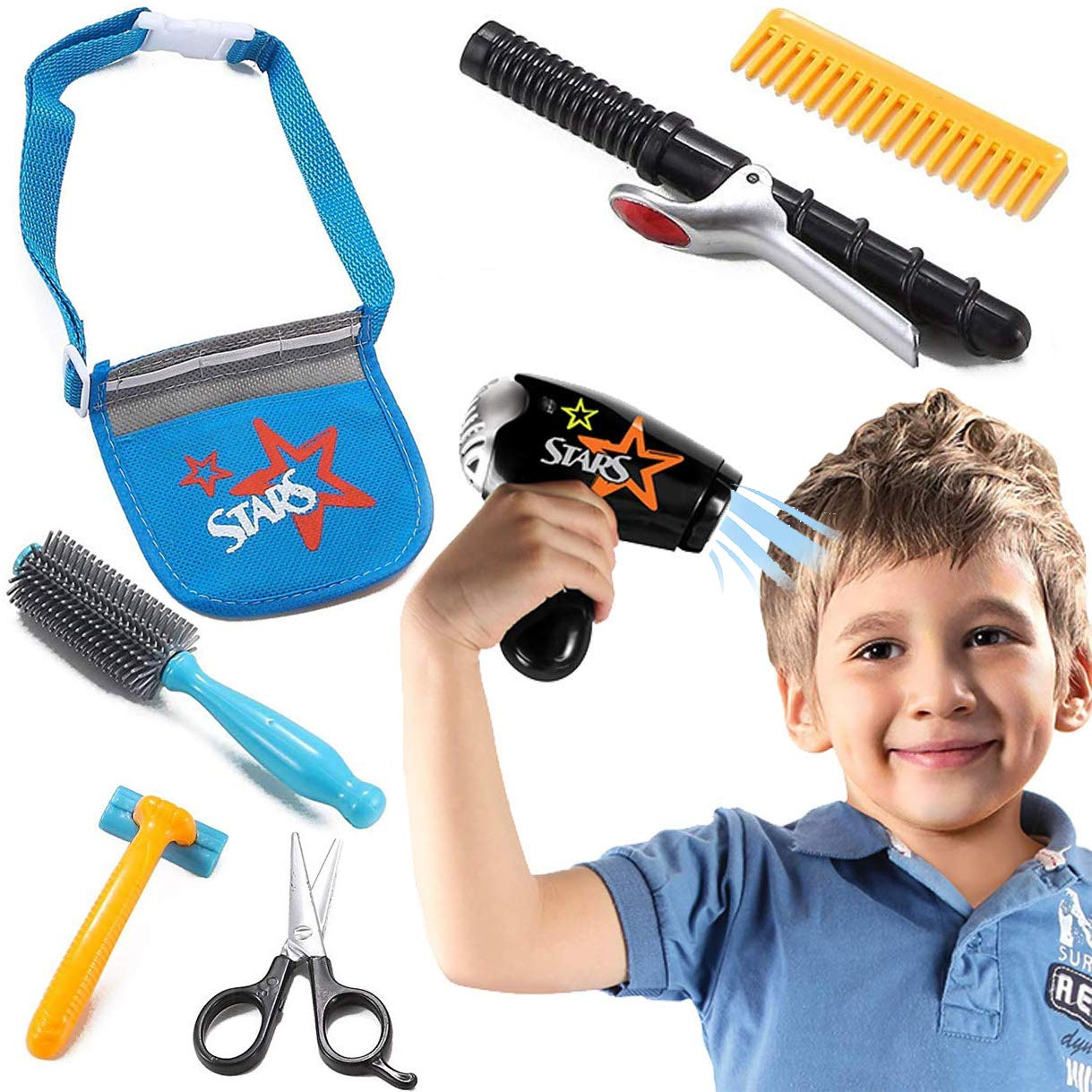 Liberty Imports Boys Star Stylist Barber Salon Role Play Set with Hairdryer, Curling Iron, Tool Belt and Styling Accessories by Liberty Imports