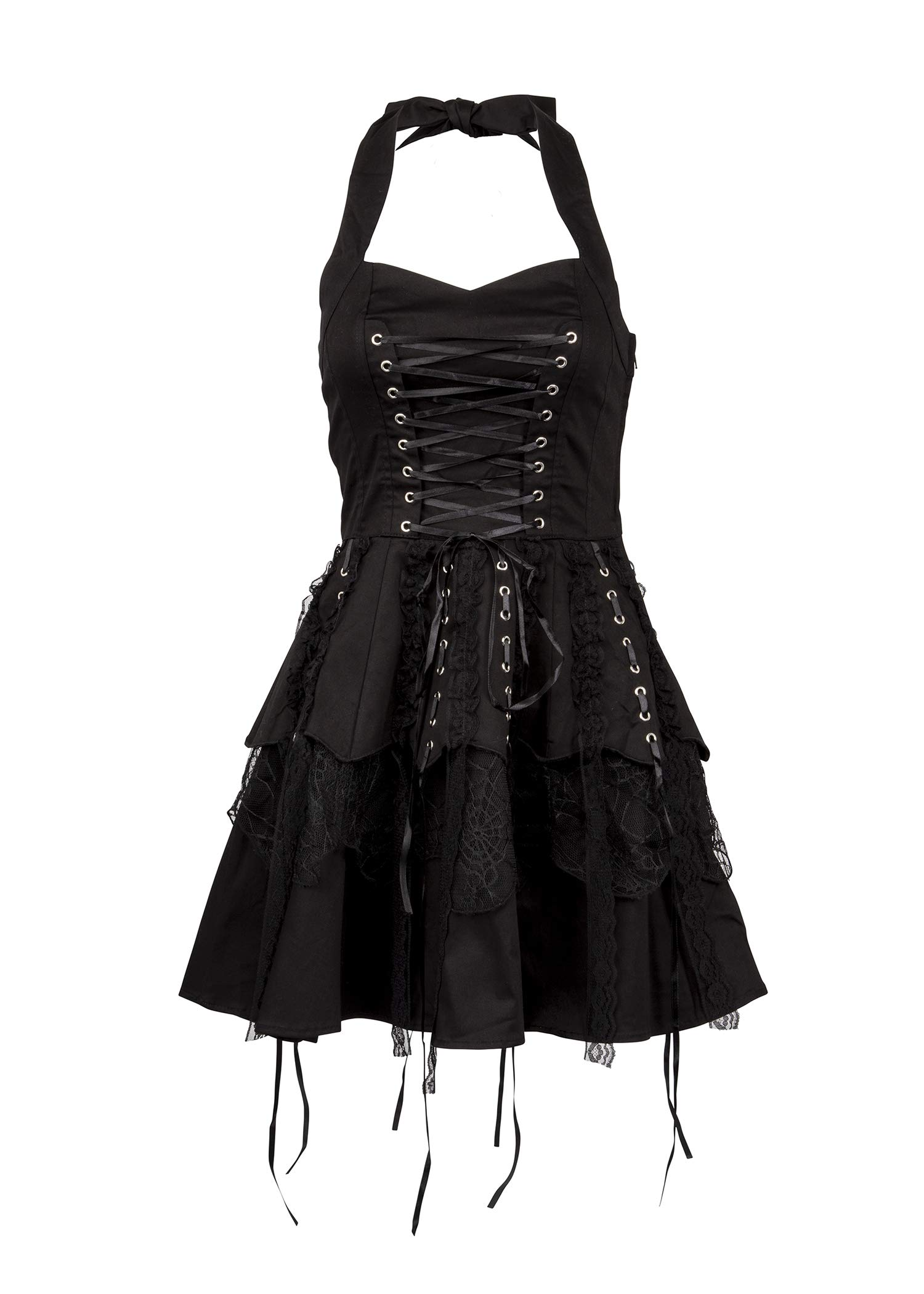 Glam and Gloria Womens Black Gothic Steampunk Pirate Mini Dress with Lacing 3