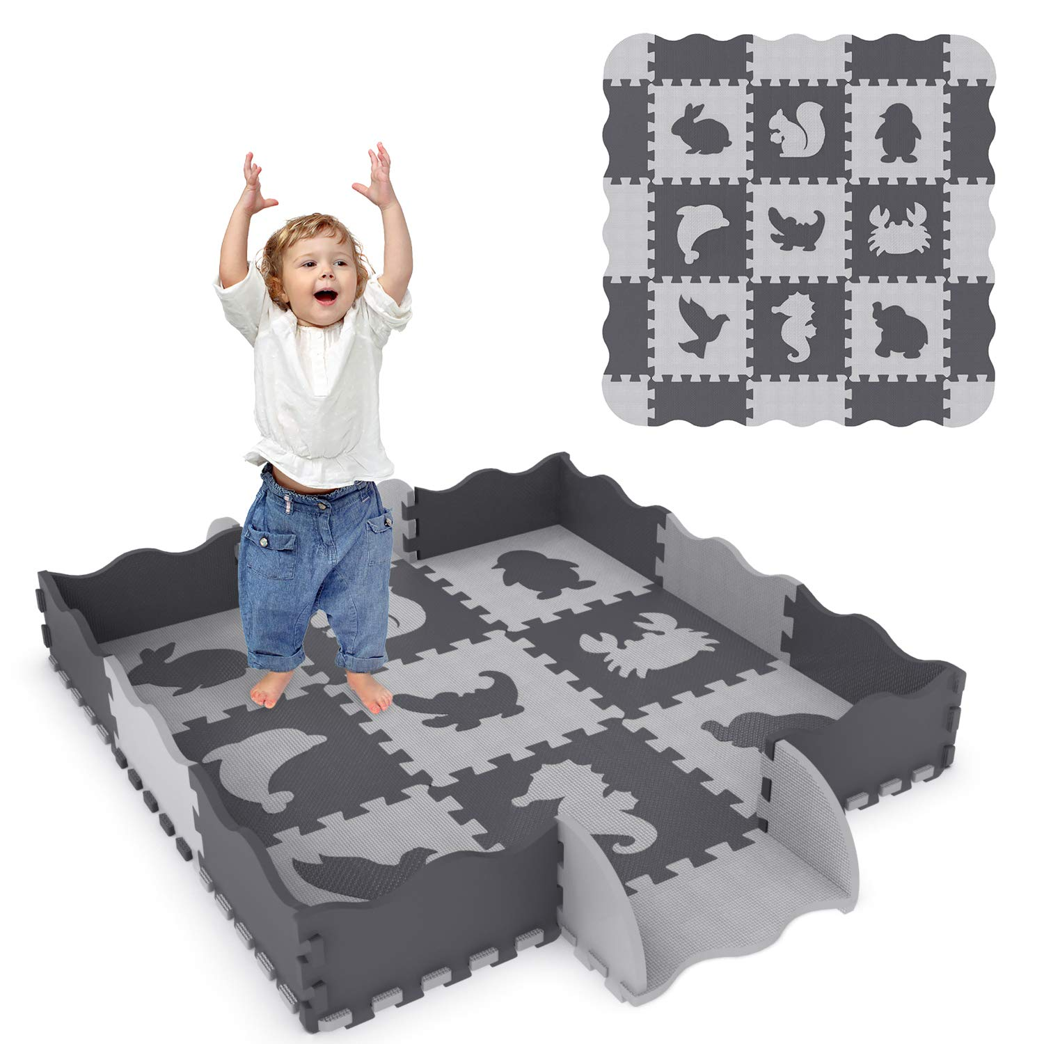 25Pcs Baby Play Mat with Fence in 9 Different Animal Styles, Thick (0.47') Interlocking Foam Floor Tiles, Kids Room Decor Large Mat Thick (0.47) Interlocking Foam Floor Tiles FUN LITTLE TOYS