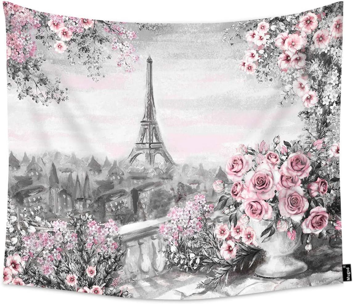Mugod Eiffel Tower Tapestry Gray Pink Oil Painting