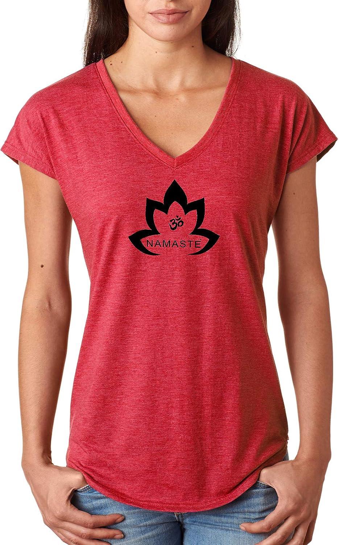 fc0f399ec3 Amazon.com: Yoga Clothing For You Black Namaste Lotus Triblend V-Neck Yoga  Tee Shirt: Clothing