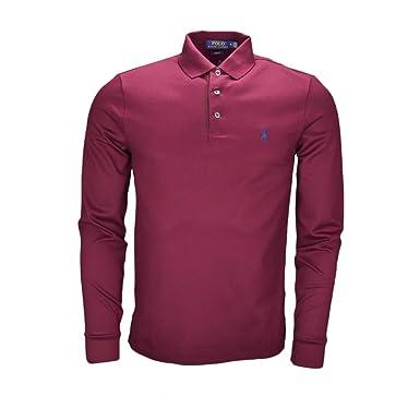 fa62300053e7 Ralph Lauren Polo Manches Longues Rouge Bordeaux pour Homme  Amazon.fr   Vêtements et accessoires