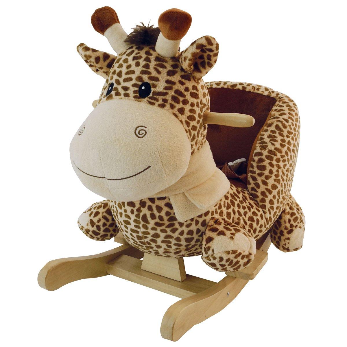 Schaukeltier Giraffe, Sicherheitsgurt, Plüsch braun / beige, ab 9 Mon. • Baby Schaukel Schaukelpferd Tier Giraffe Holz Wippe