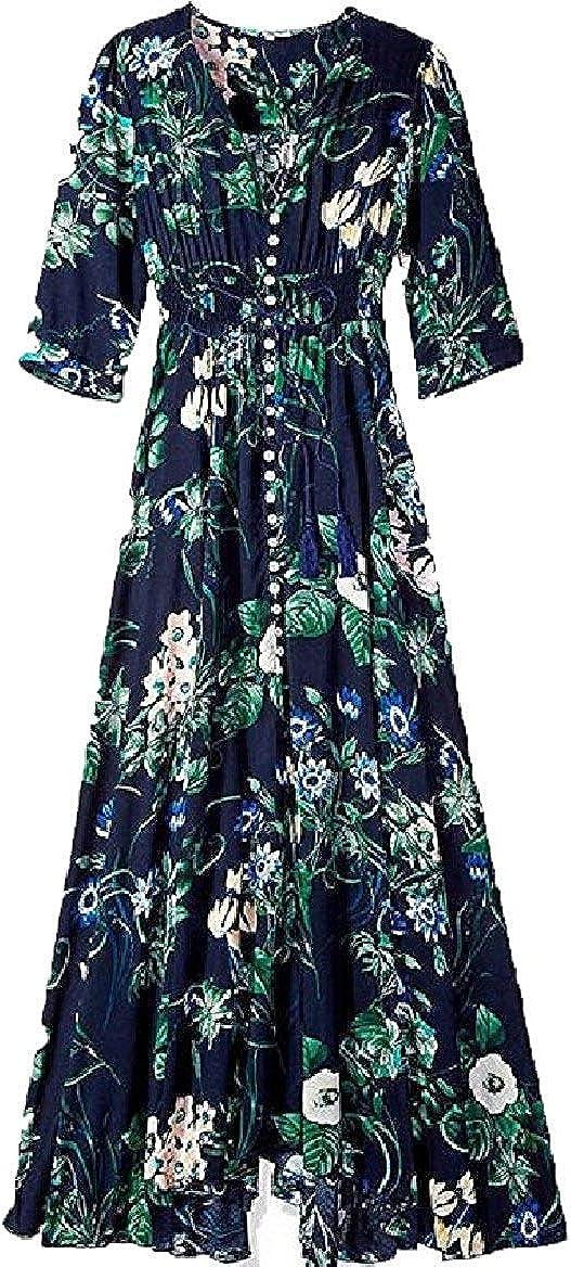 Hadudu Women Big Hem Printing Floral Bohemian Mid Sleeve Beach Dresses