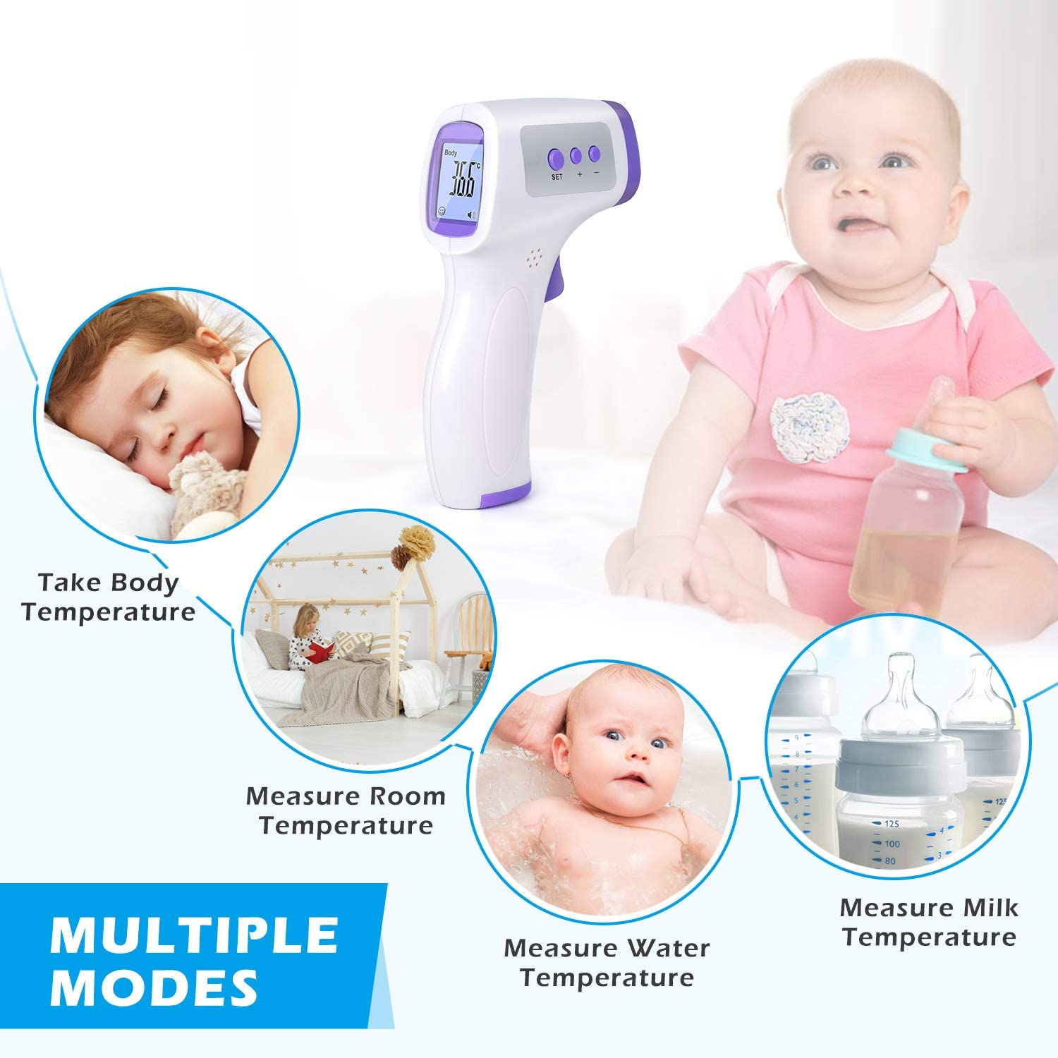 Infrared Thermometer Forehead Body Non-Contact Temperature Measurement Digital Laser LCD Screen for Kid and Adult