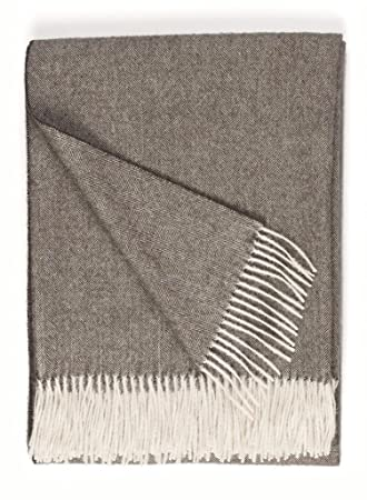 100% Pure Baby Alpaca Eco Herringbone Sofa Throw Blanket, 71u0026quot; X  51u0026quot;