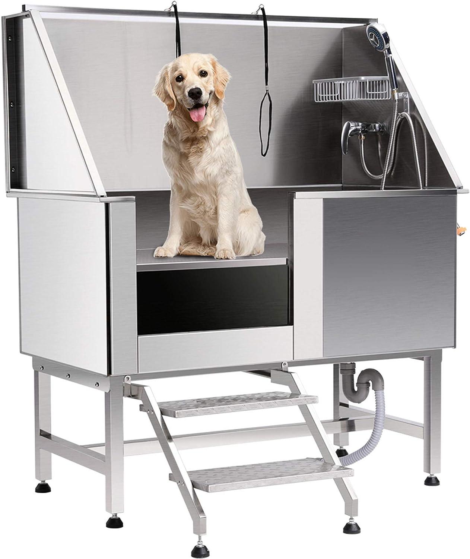 pila para bañar mascotas de aluminio con puerta, con argollas y golden retriever dentro