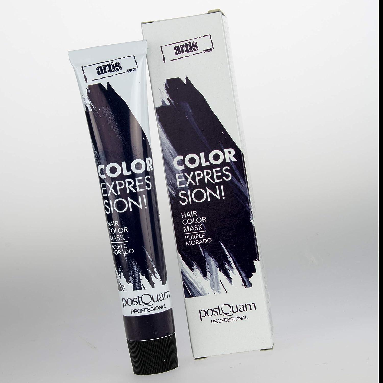 PostQuam - Mascarilla Color Expression, Tinte temporal de pelo - Color Morado - Pack de 3 unidades - 60 gr