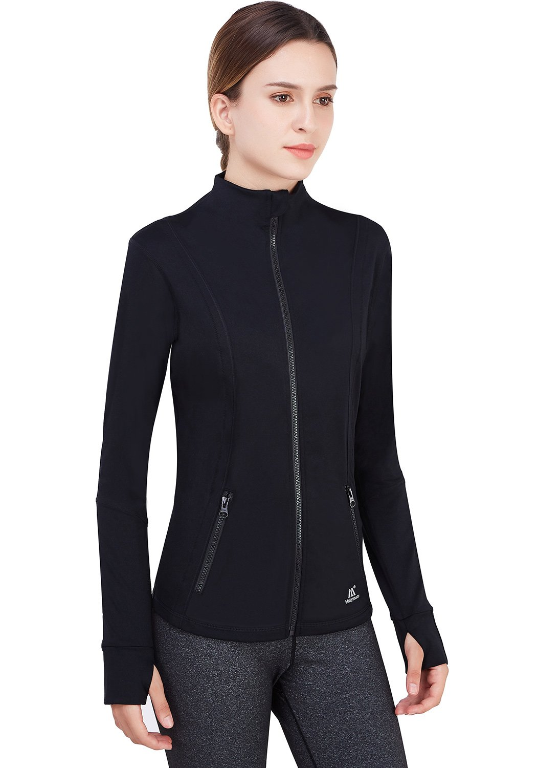 Matymats Women's Active Full-Zip Track Jacket Yoga Running Athletic Coat With Thumb Holes,Large,Black