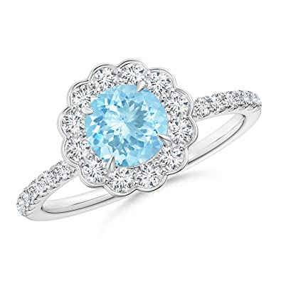 Angara Vintage Diamond Halo Sideways Cushion Aquamarine Claw Ring in Platinum WlRYfA