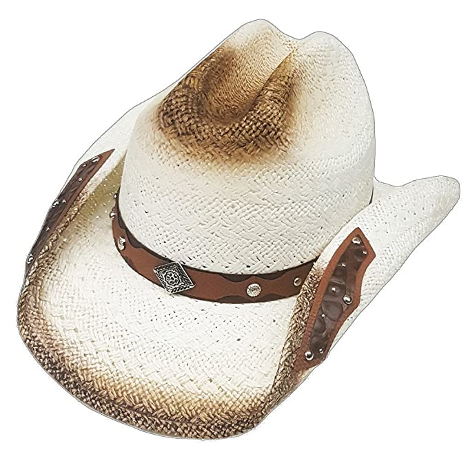 ed2c3f81 Modestone Straw Cowboy Hat Metal Diamond Concho Studs Appliques Brim Beige:  Amazon.co.uk: Clothing