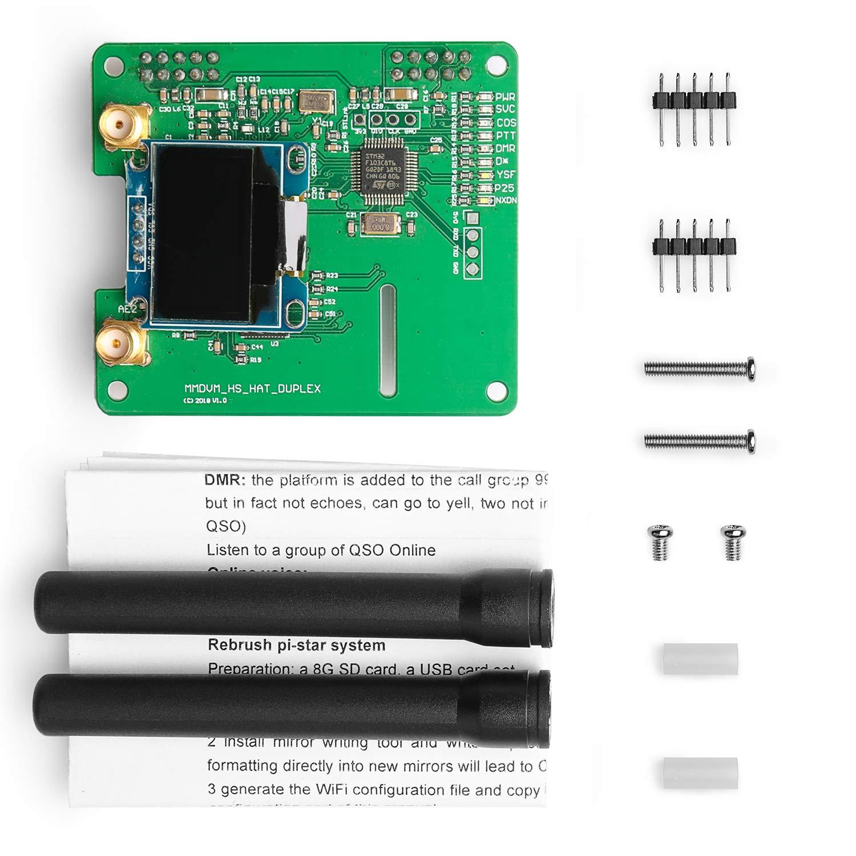 Support P25 DMR YSF D-Star UHF WiFi Digital Voice Modem Suitable for Raspberry Pi-Zero W Pi 3B Pi 3 SainSmart MMDVM 2 Channels Hot Spot Shield with OLED+MMDVM Hotspot Spot Radio Station Antenna