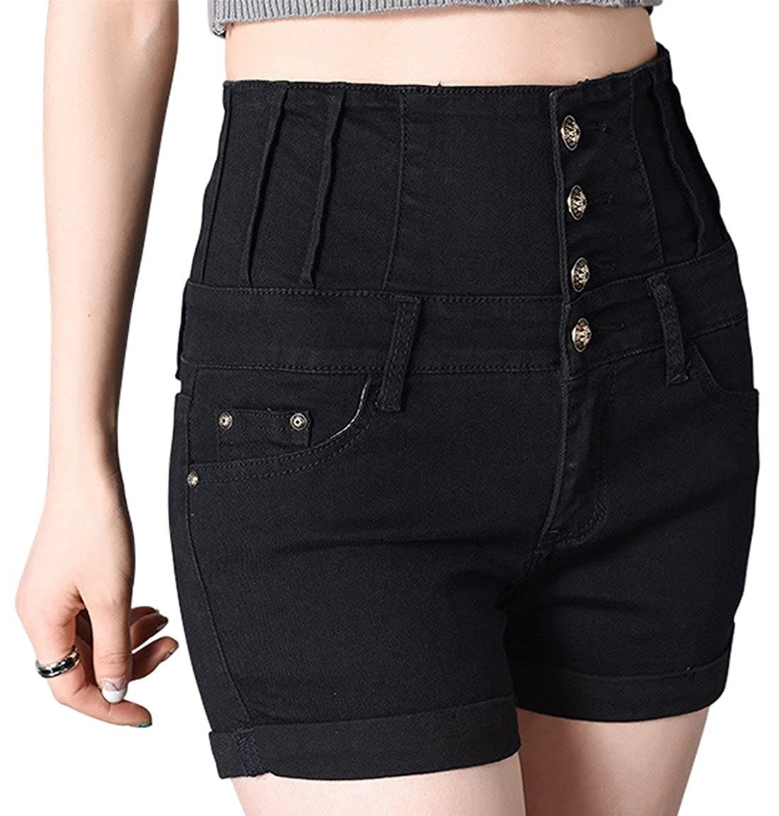 chouyatou Womens Stretched High-Rise 5 Pockets Distressed Denim Shorts