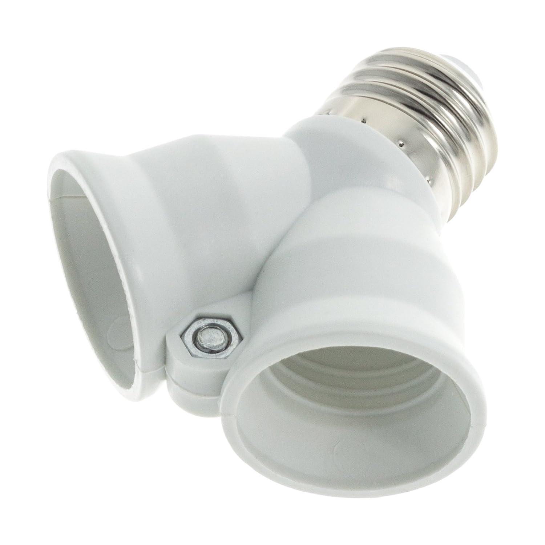 Weiß ledscom.de E27 Splitter 3 Einh Serie Elektra Y-Adapter E27 auf 2x E27
