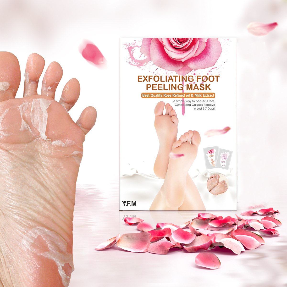 Rose Foot Mask, LuckyFine 1 Peeling Mask + 1 Nutritious Mask, Exfoliating Soft Feet Peel Mask, Remove Calluses & Dead Skin Cells, Rebirth of Soft Foot, Completely within 4-7 days for Gift
