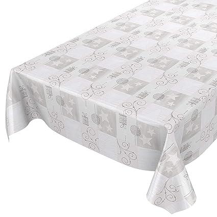 ANRO Hule Mantel Encerado Cera Mantel Mantel Navidad Estrellas Plata Gris 100 x 140 cm,