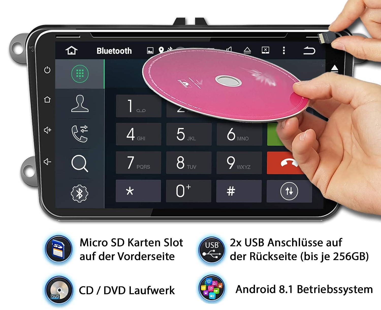 Tristan Auron BT2D7023VW Autoradio Android 8.1 OBD 2 Bluetooth Freisprecheinrichtung GPS Navi 7 Touchscreen Bildschirm 2 DIN I VW Seat Skoda DAB+ USB//SD Quad Core