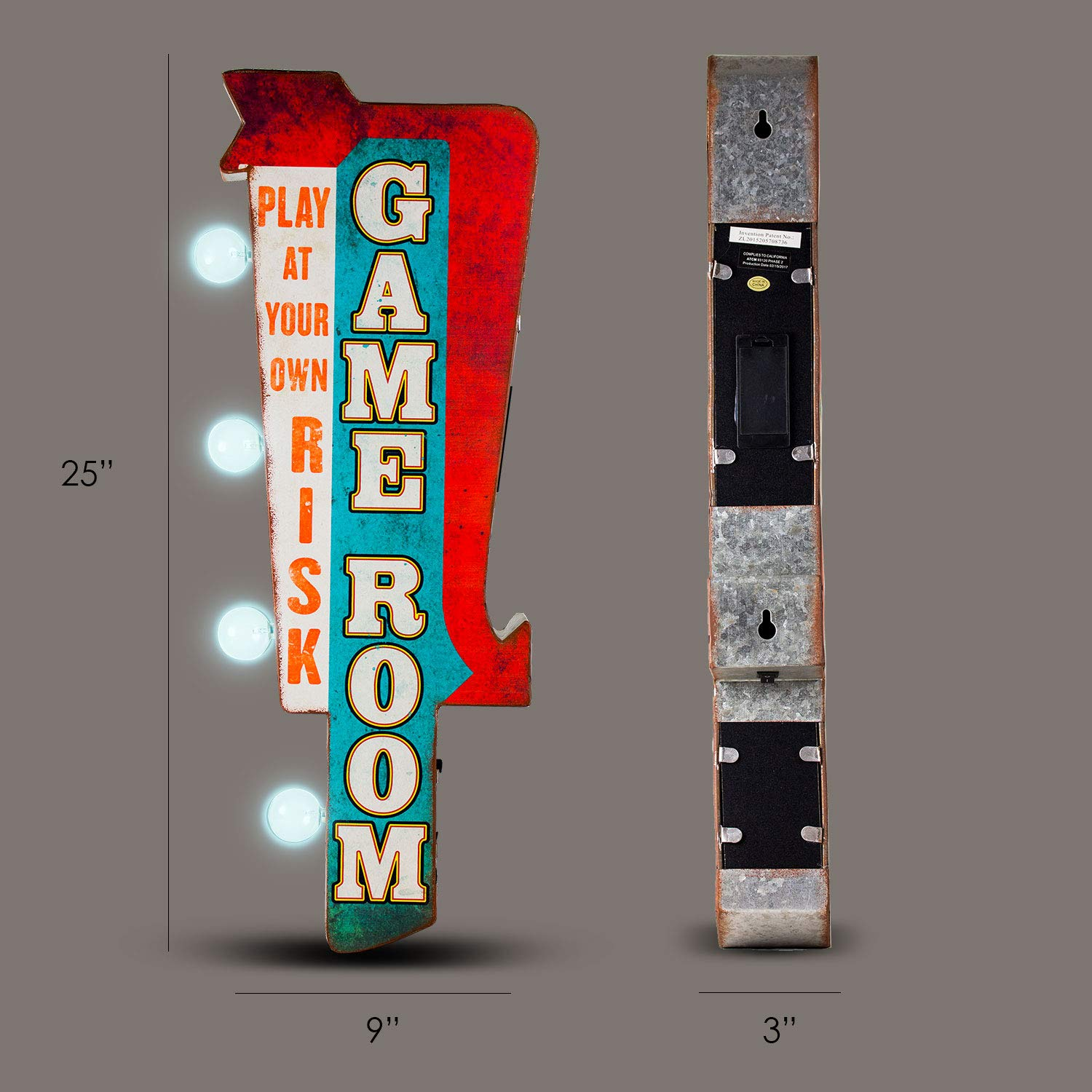 Crystal Art Play at Your Own Risk Game Room Vintage Double Sided Marquee LED Sign Wall Decor for Man Cave Bar Garage 9 L x 4 W x 25 H Multicolored