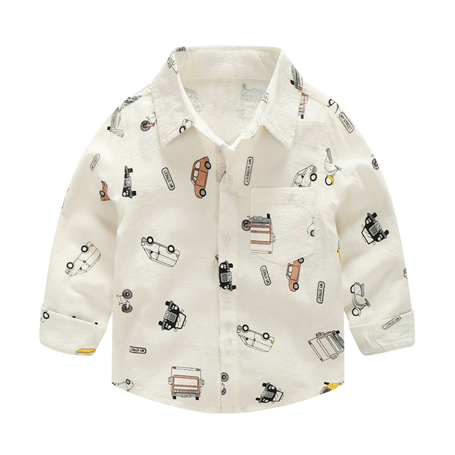 Evelin LEE Infant Toddler Baby Boys Kids Long Sleeve Cars Printed Button Up Wedding Birthday Woven Shirts 05LFA0694-zl