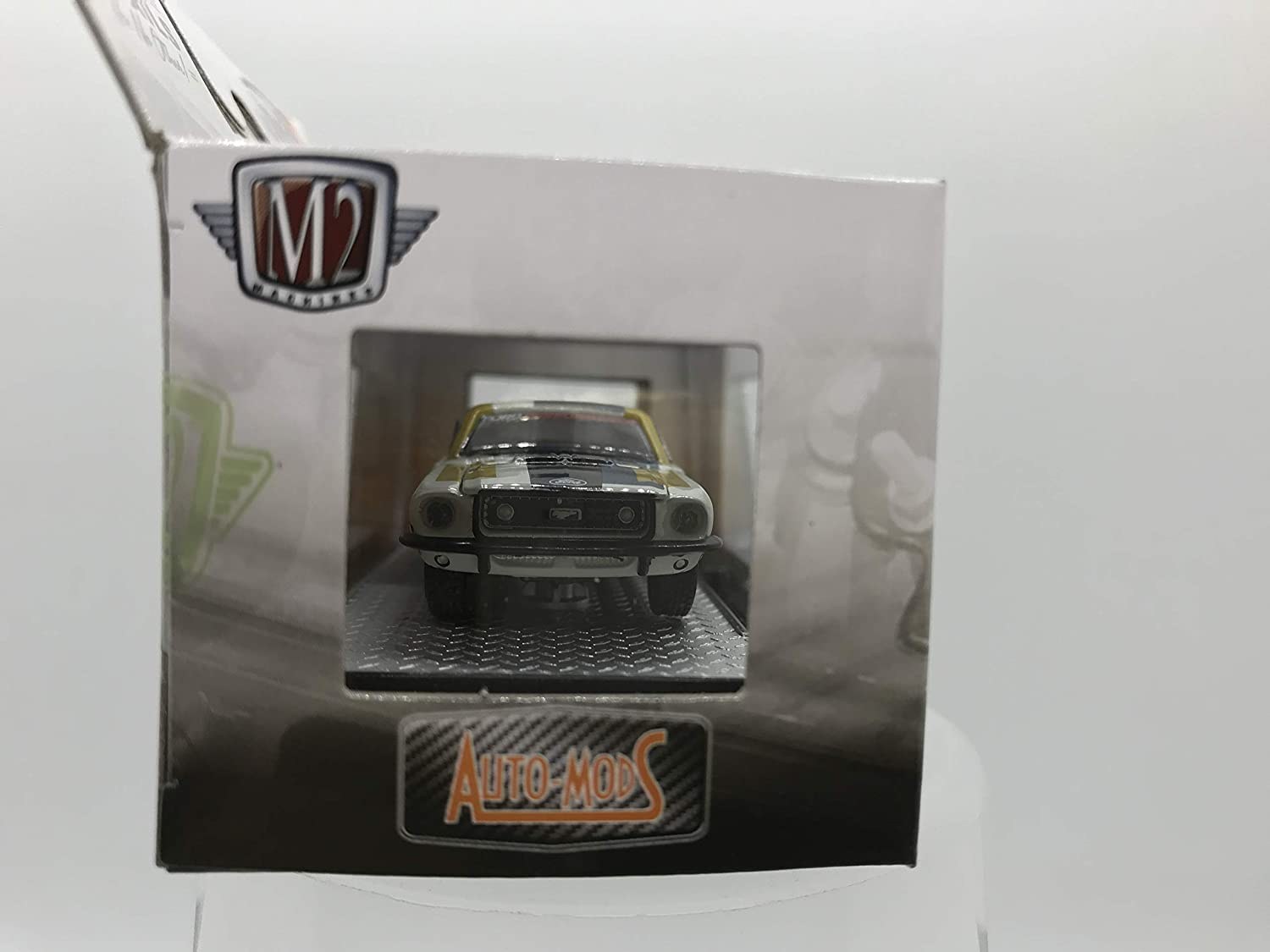 1 of 7000 M2 Machines by M2 Collectible Auto-Mods 1968 Ford Mustang GT 1:64 Scale AM07 20-13 White//Blue//Yellow Details Like NO Other