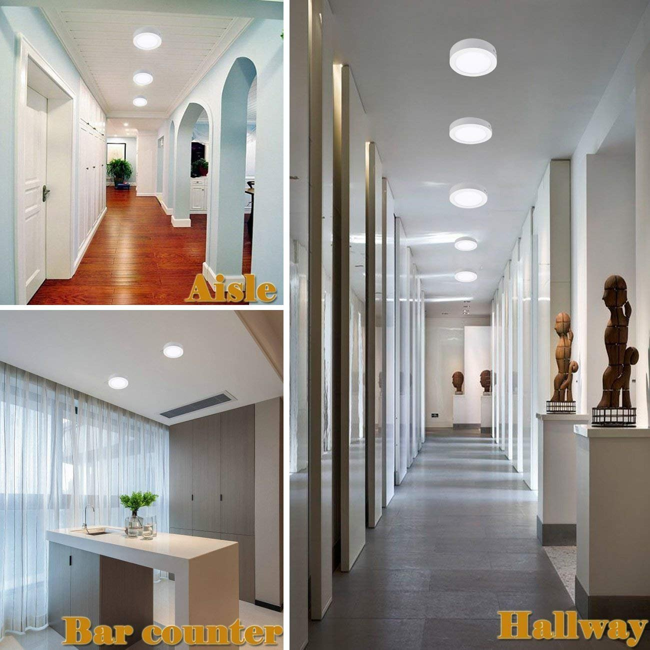 Flur Deckenleuchte Rund 12W LED Deckenlampe Wandlampe Wandleuchte 3000K Warmwei/ß f/ür K/üche Nicht Dimmbar Keller