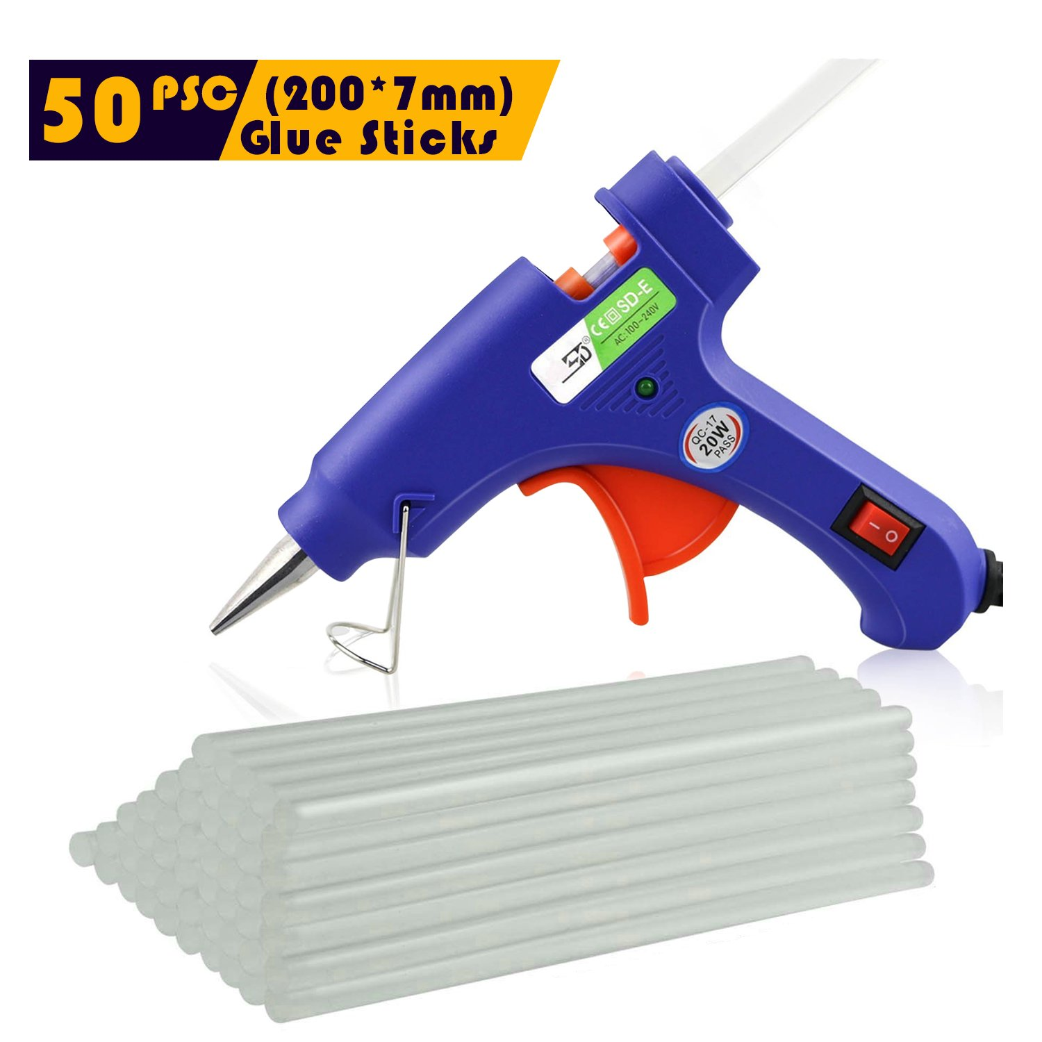 Hot Glue Gun - 20w Mini High Temp Glue Gun & 50pcs Small Hot Glue Sticks, Best Replacement Glue Sticks and High Performanc Craft for DIY, Craft, Industral, Leather Bonding, Child Safe Glue Gun etc