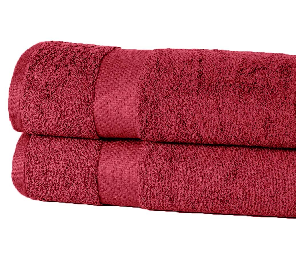 Casa Platino Combed Cotton Oversized Luxury 35 inch x 66 inch Cotton 2-piece Bath Sheet with Extra Softness, Hotel and Spa Extra Large Bath Towel set with high Absorbency (2 Pack) (Garnet Red)
