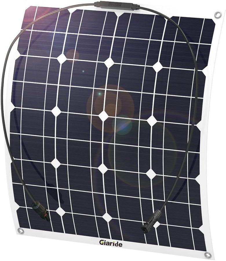 GIARIDE 50W 18V 12V Solar Panel Monocristalino Célula Placa Solar Flexible Fotovoltaico Módulo Cargador Batería Ligero Impermeable con Mc4 Conector off Grid para Techo, RV, Barco