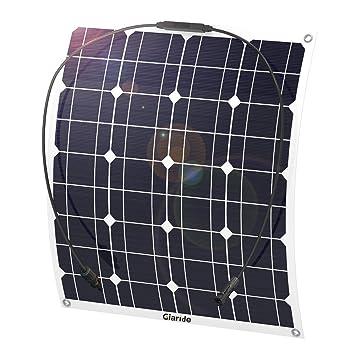 GIARIDE 50W 18V 12V Solar Panel Monocristalino Célula Placa Solar Flexible Fotovoltaico Módulo Cargador Batería Ligero Impermeable con Mc4 Conector ...