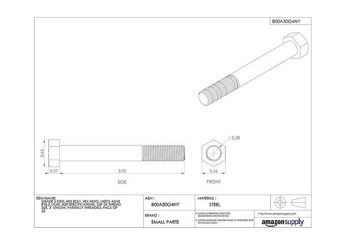 Hex Head Partially Threaded 7-1//2 Length Pack of 5 Meets ASME B18.2.1//SAE J429 1//2-13 Threads Steel Hex Bolt Plain Finish Grade 5 External Hex Drive