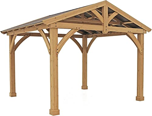Yardistry Structures Pre-Stained Premium Cedar Wood Metal 13 x 11 Outdoor Pavillion Gazebo