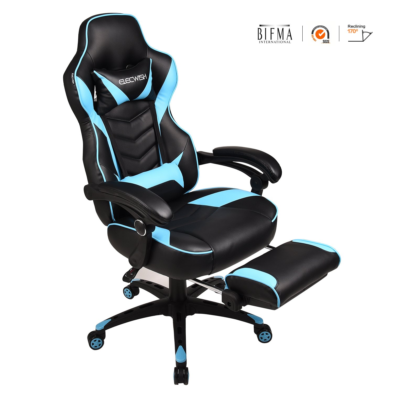 Sky bluee Ergonomic Computer Gaming Chair, Large Size PU Leather High Back Office Racing Chairs with Widen Thicken Seat and Retractable Footrest and Lumbar Support Video Game Chair 170 Degree Reclining (Grey)