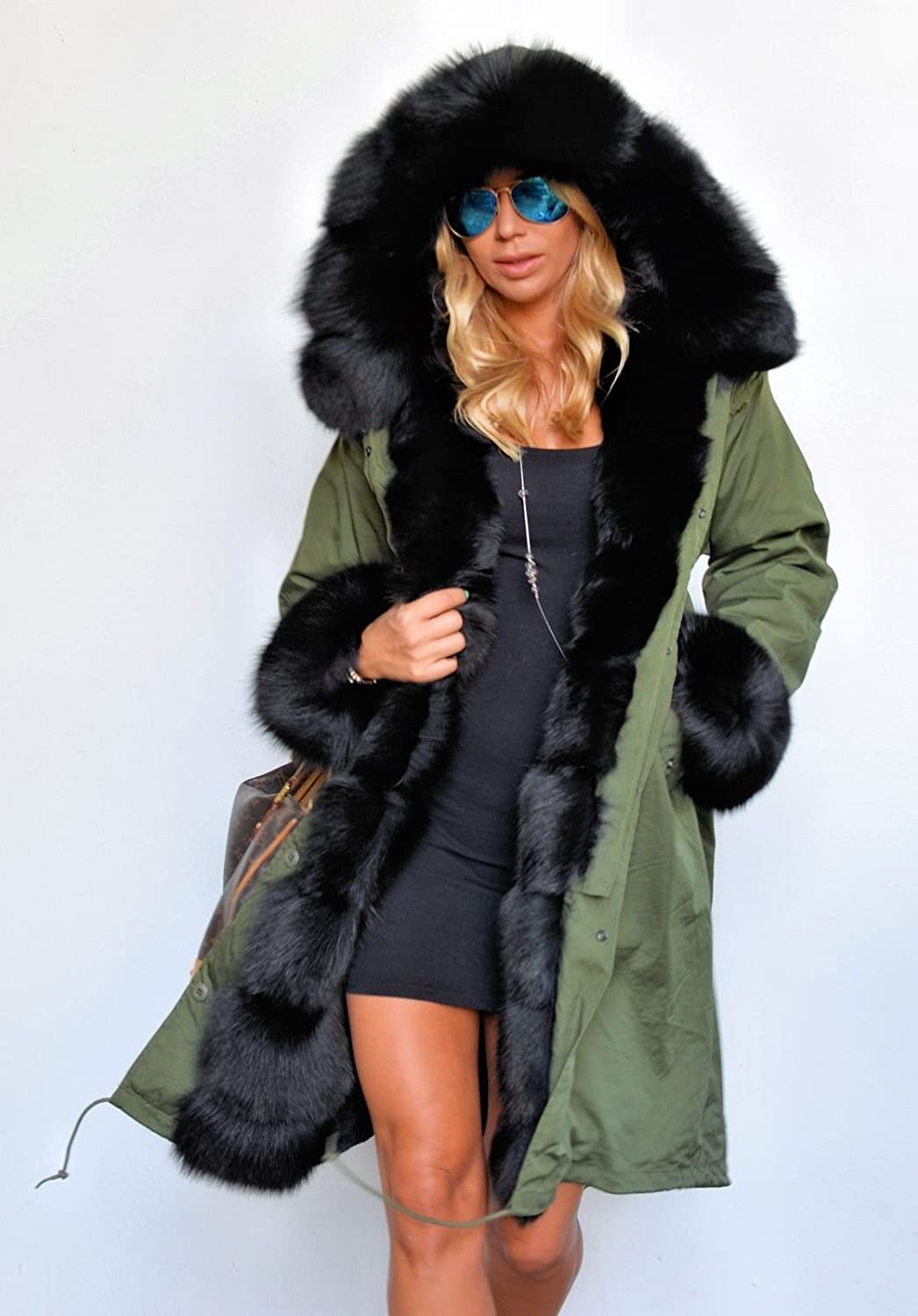 Thick fur hooded parka