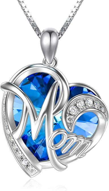 925 STERLING SILVER NECKLACE CRYSTAL HEART MUM Pendant Birthday Love Gift Bag