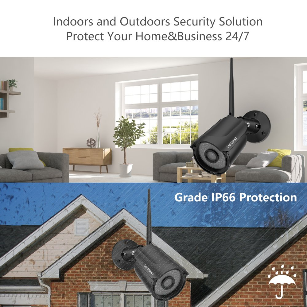 1080P NVR Security Camera System Wireless,Safevant 8CH 1080P NVR Wireless Security Camera System 1TB Hard Drive ,4PCS 960P Indoors Outdoors Wireless Security Cameras,Plug Play,NO Monthly Fee