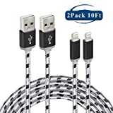 Fenergy iPhone Lightning to USB Cable Nylon Certified 8 Pin Charging Cord - 2 Pack (10 Feet / 3 Meter)